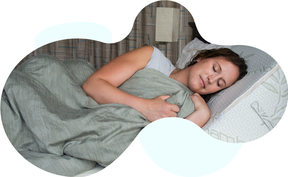 Woman using the Body Buddy as a pillow while she sleeps.